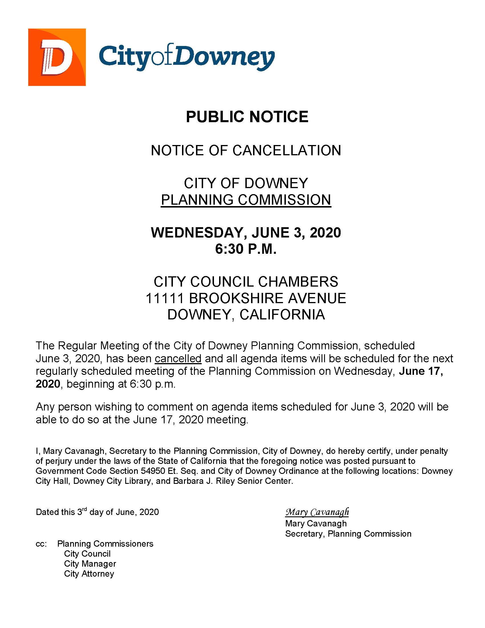 Notice of PC CX. June 3 2020