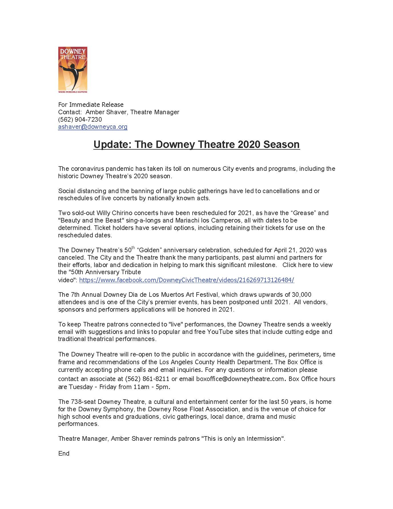 Update on the Downey Theatre 2020 Season