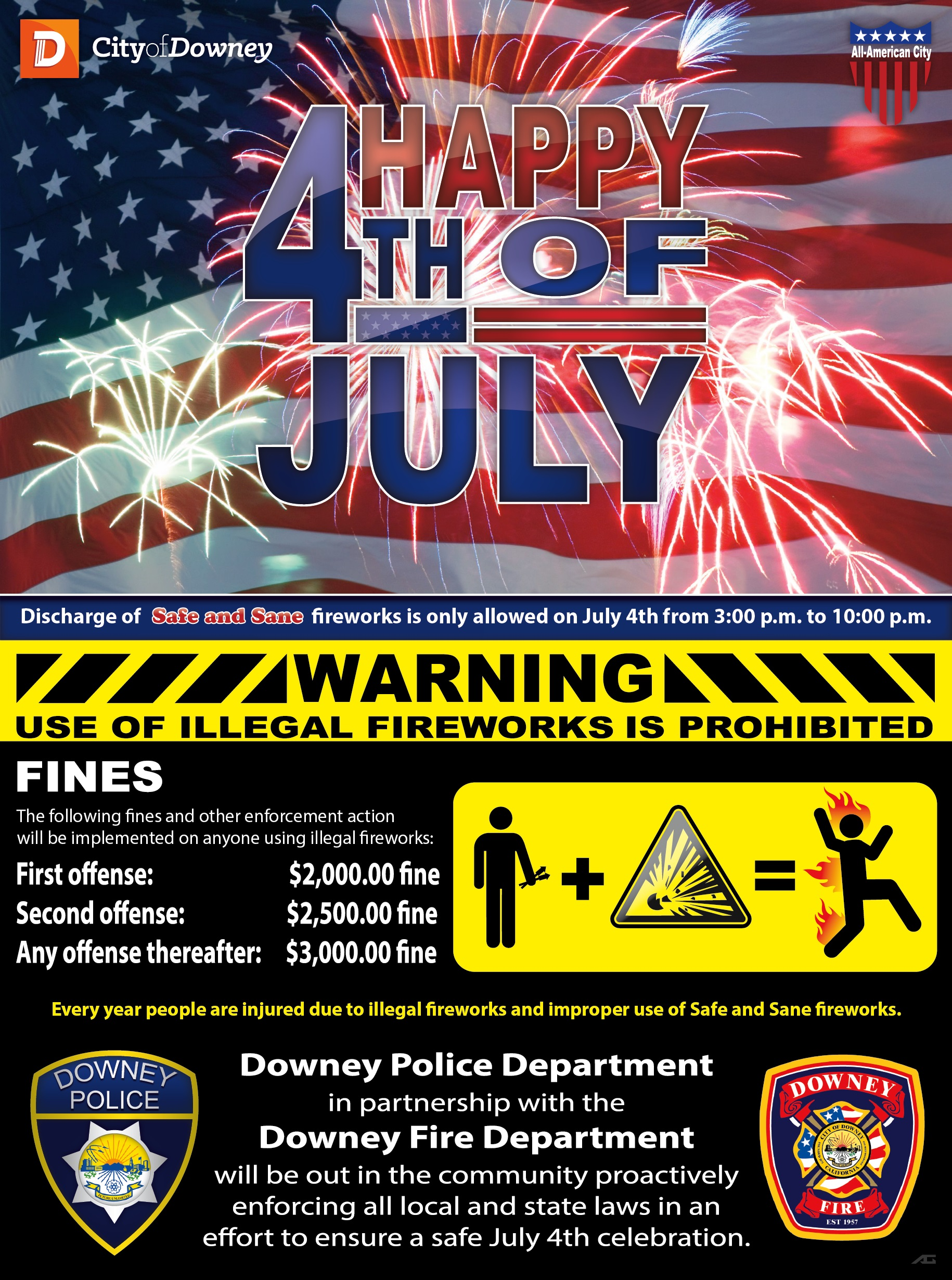Downey Reminds Residents that Illegal Fireworks are Prohibited