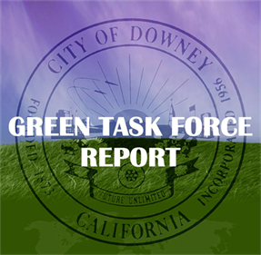 Green Task Force Report over City of Downy logo