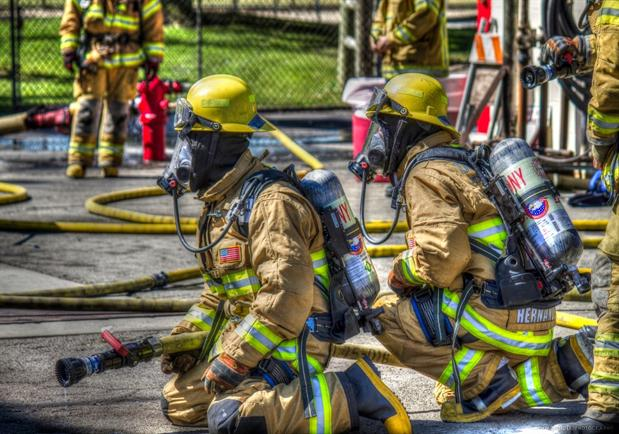 Firefighters kneeling