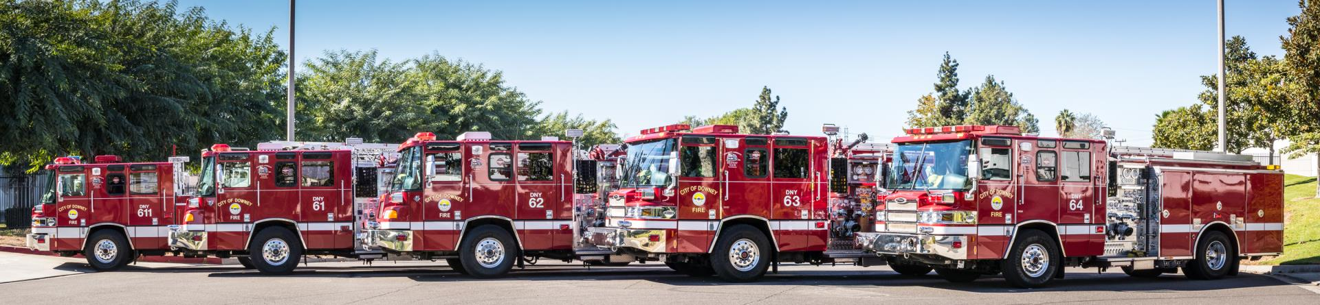 Fleet of fire trucks