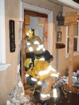 Firefighters inside building