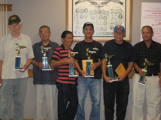 Group holding billiards trophies