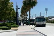 View of busy Downey Depot bus stop