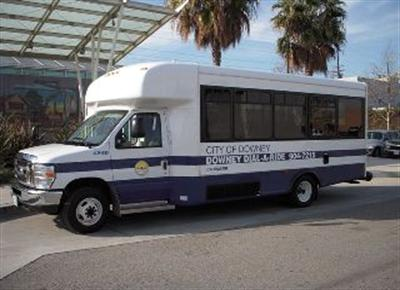 View of Dail-A-Ride vehicle in front of Downey Depot