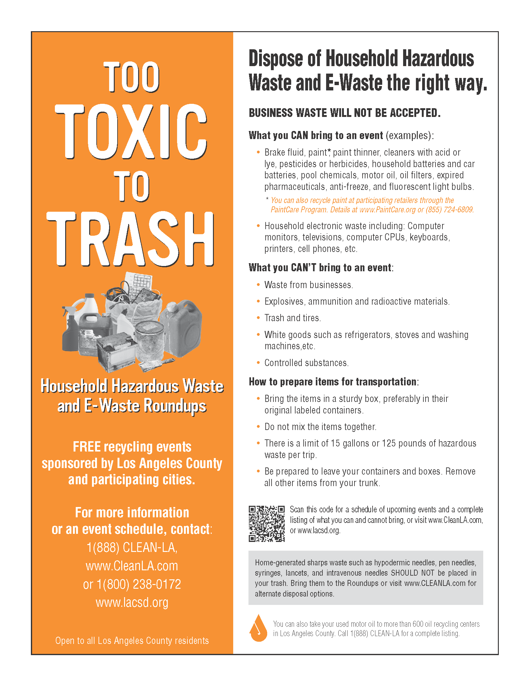 Hazardous Waste and E-Waste Events Flyer (see www.CleanLA.com)