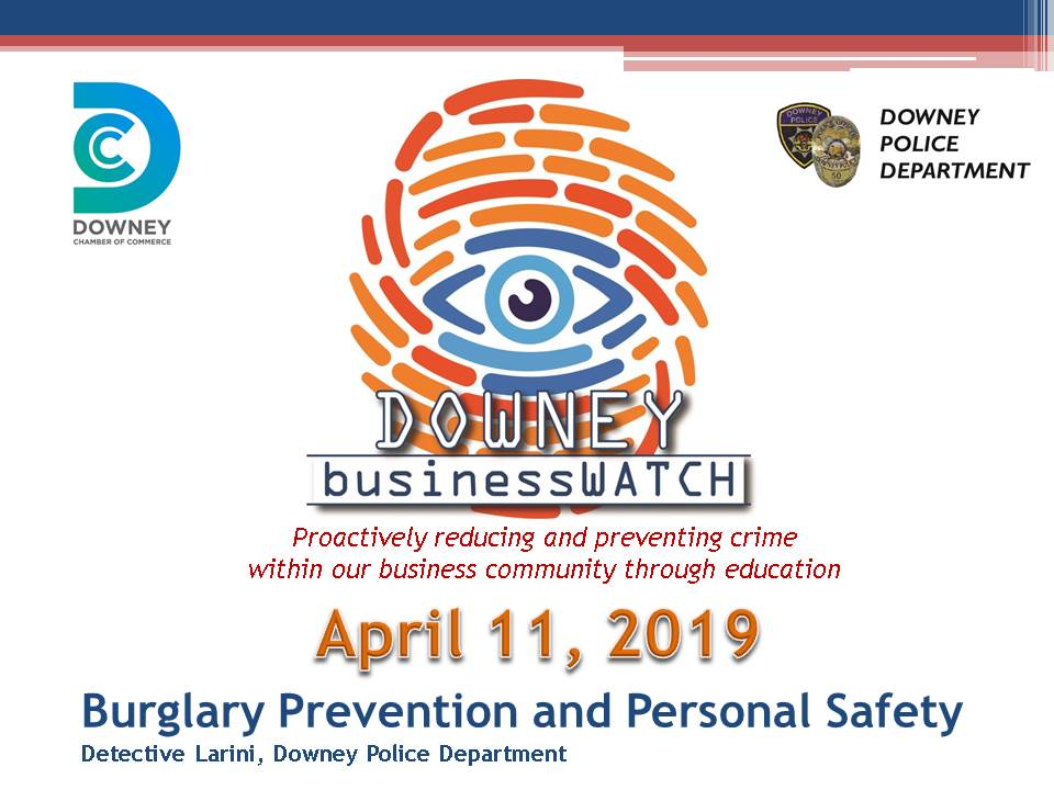 Burglary prevention and Personal Safety, April 11 2019