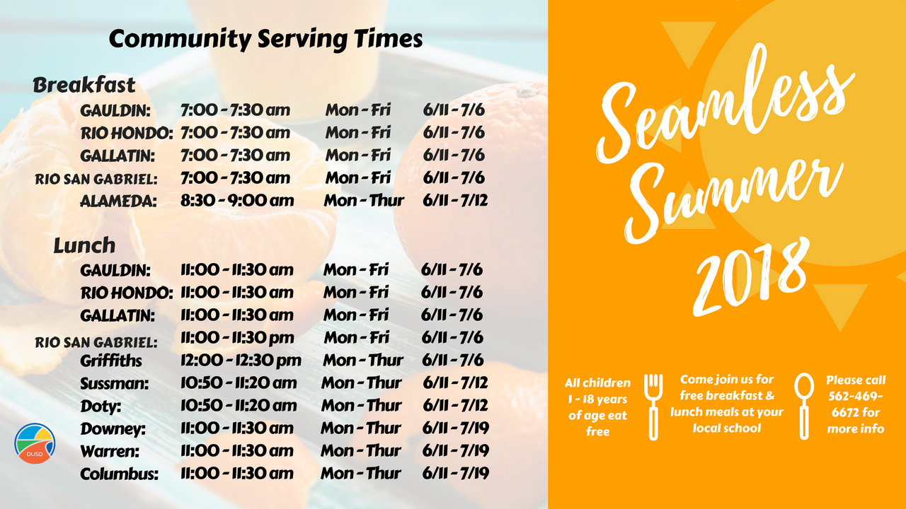 Seamless Summer 2018 serving times